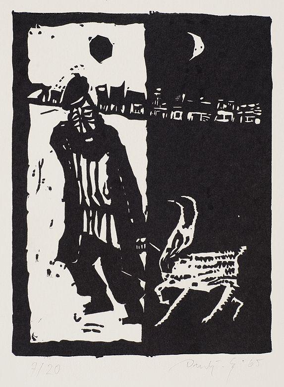 Jerzy Duda Gracz | ŻYD Z KOZĄ, [Z SZOŁEM ALEJCHEMA...],  Z CYKLU JUDAICA, 1965 | linoryt, papier | 14.7 x 11 cm