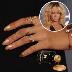 $5,000.00 mani: Gold Manicure, Rihanna Nails, Gold Nails, 24K Gold, Nailpolish, Red Carpets, Manicures, Nails Polish, Nails Jewelry