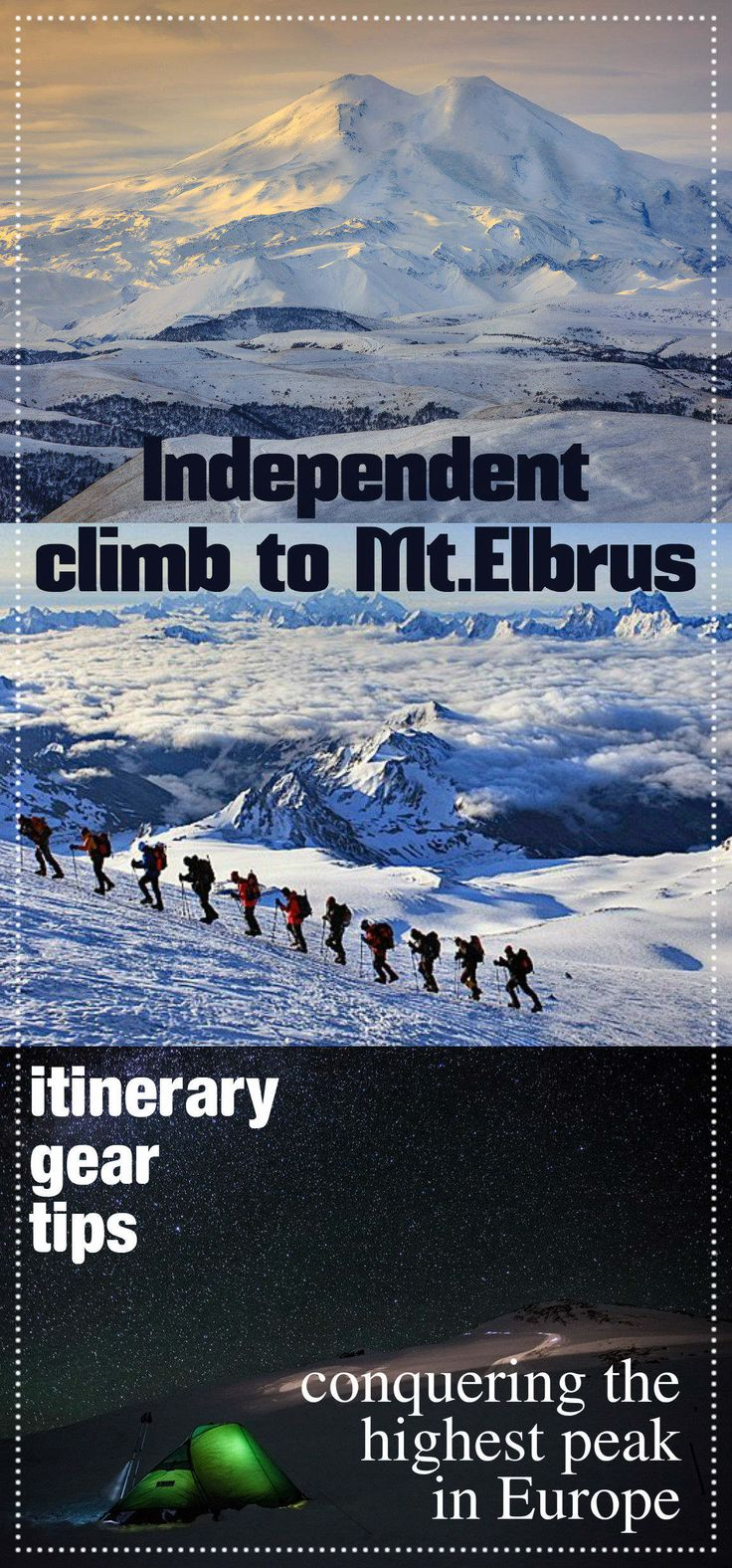 Climbing mount Elbrus without a guide, all you need to know to prepare. Climbing itinerary, gear, acclimatization tips, routes, maps, budget.