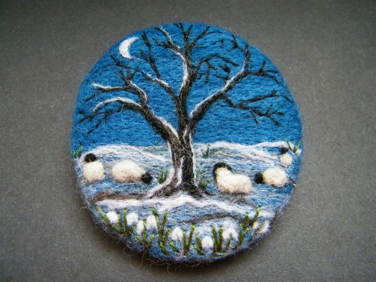 Handmade needle felted brooch/Gift One Frosty Night by Tracey Dunn