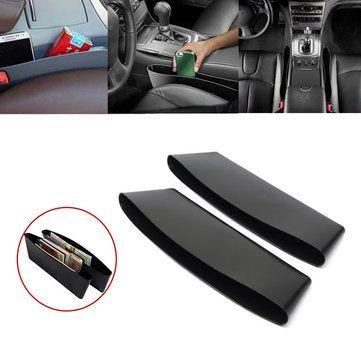 2Pcs Black Car Interior Catch Catcher Storage Organizer Box Seat Slit Pocket
