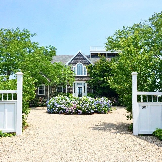 Perfect Hydrangeas In The Center Of A Circular Driveway