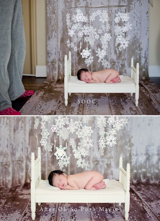Photography  studio setting.  Use small bed and floating snowflakes to create a sweet winter wonderland.