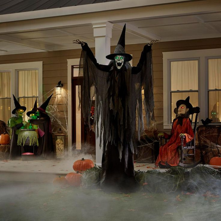 Home Accents Holiday 9 5 Ft Macabre Witch 5124647 The Home Depot Halloween Outdoor Decorations Outdoor Halloween Halloween Yard Props