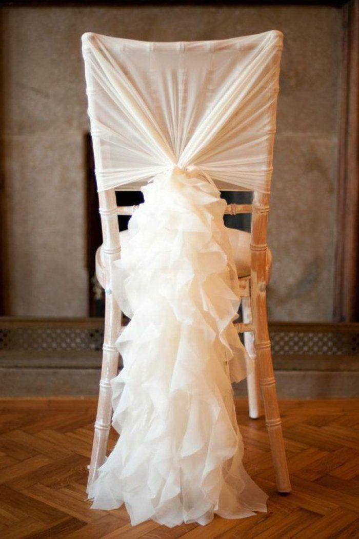 dcoration originale pas cher et jetable avec un voilage blanc - Housse De Chaise Mariage Jetable