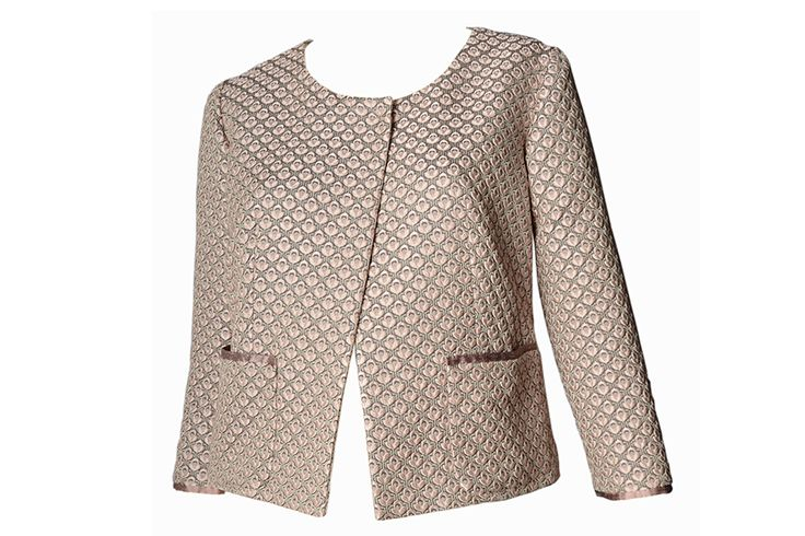 C.48 Silk and cotton textured fabric jacket; silk details and interior.