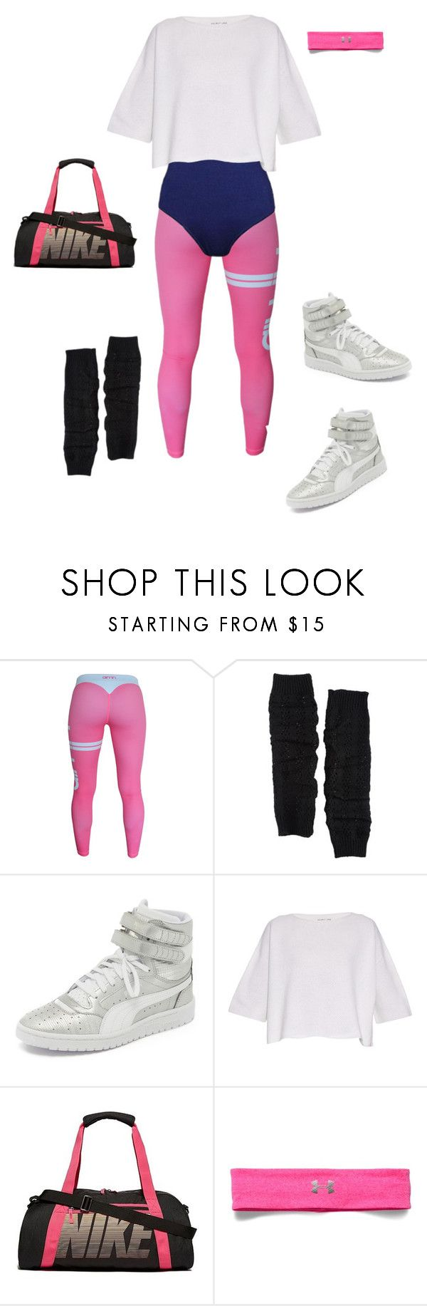 """80's Workout"" by ccoss on Polyvore featuring Capelli New York, Puma, Helmut Lang, NIKE, Under Armour, women's clothing, women's fashion, women, female and woman"