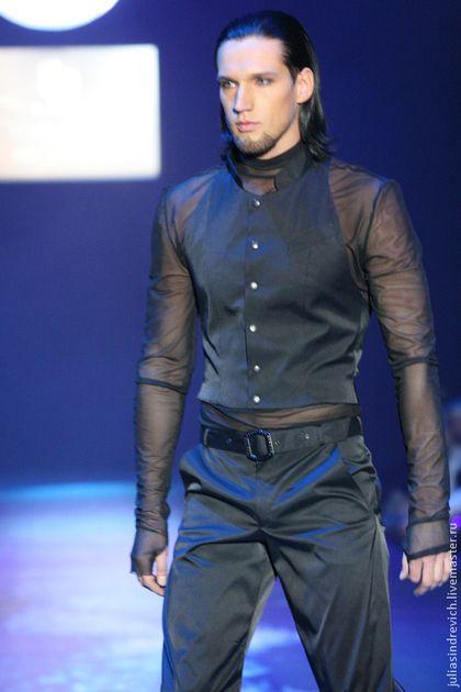 AAm_014 Водолазка мужская черная, сетка-стрейч - черный,однотонный,мужская одежда