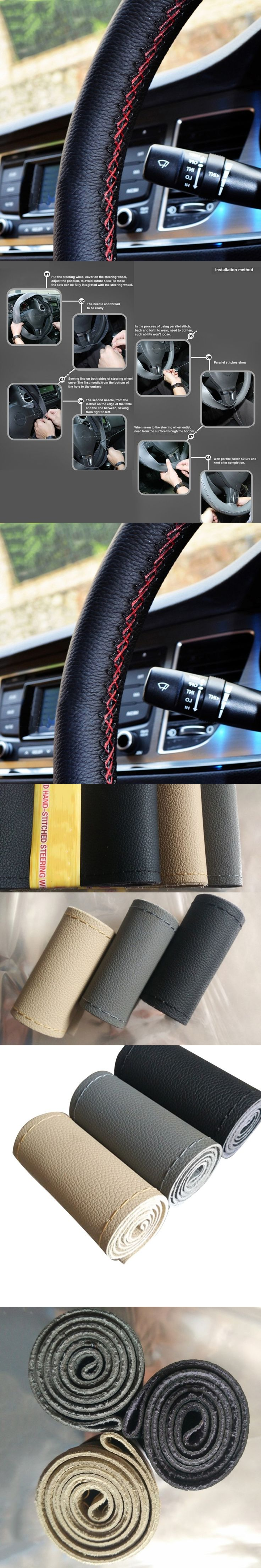 NEW Microfiber Leather Car Steering Wheels Covers 38CM/15'' Steering Wheel Hubs Car Styling