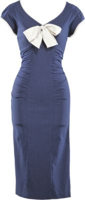 Business 1950's dress in Navy Blue, Fitted - Stop Staring! Clothing