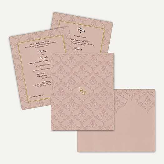 This fabulous card has stunning self Embossed floral designs on the entire front with matching mailing box envelope. This marvellous and modern invitation card is made from high quality of Beige Color Matt Finish card paper. Gold plated Initials sticker placed at center of the card gives amazing look. Initials can be customizable as per couple's name