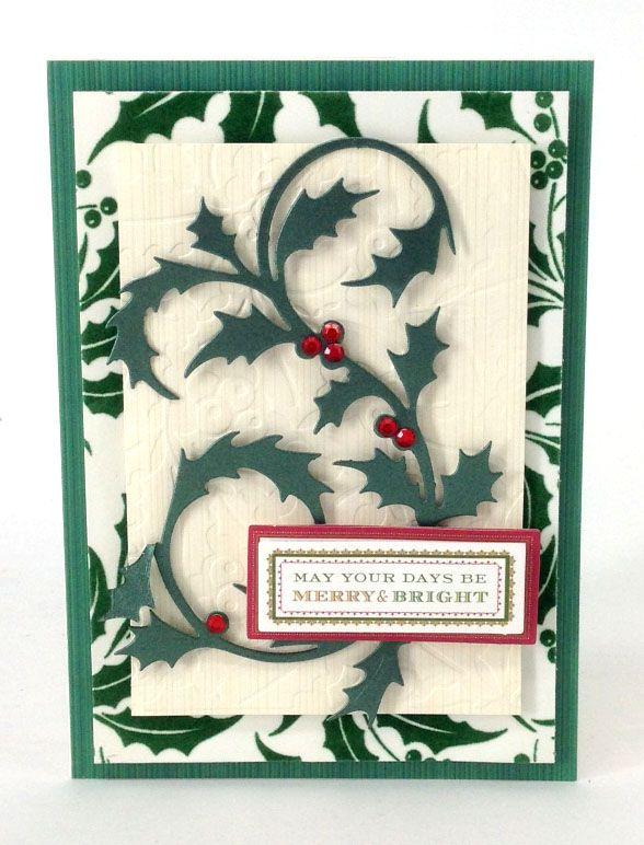 handmade Christmas card ... © Anna Griffin, Inc. Holly Die Cutting Dies ... luv the flourish holly branch die cut ...