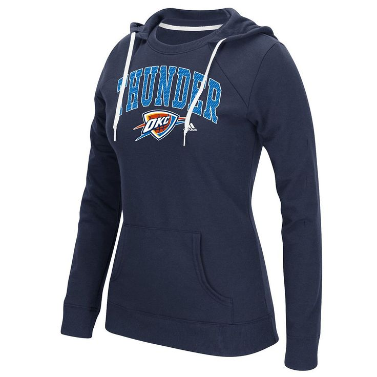 Women's Adidas Oklahoma City Thunder Outline Big Arch Hoodie, Size: Small, Blue (Navy)