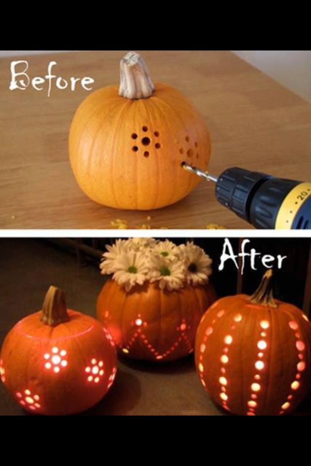 Use an electric drill to carve pumpkins!