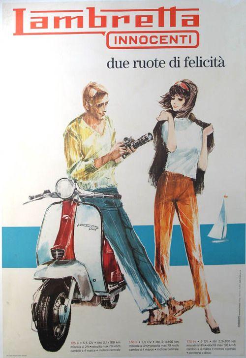 Vintage Italian Posters ~ #illustrator #Italian #vintage #posters ~ Lambretta - Vintage scooter advertising