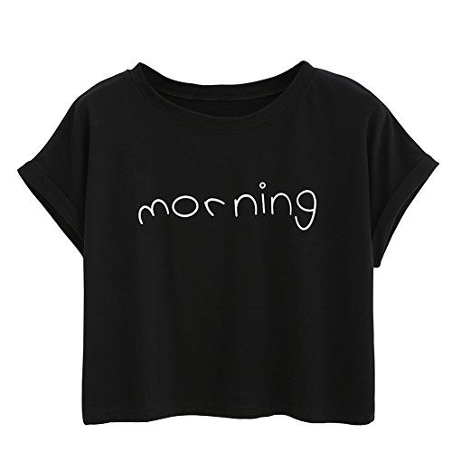 Timall Women Cute Round Neck Short Sleeve Letter T-shirt Printing Crop Top   Special Offer: $8.59      388 Reviews Timall Women Cute Round Neck Short Sleeve Letter T-shirt Printing Crop Top Material: 95% cotton   5% Lycra Color: Pink, Black, White Style: Printed Crop Top Collar: O Neck...