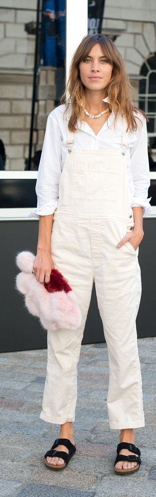 Alexa Chung in overalls all white street style