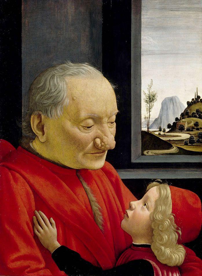 DOMENICO GHIRLANDAIO (1449-94) Stary człowiek z wnukiem, tempera na desce, 62x46 cm, 1490, Luwr