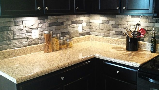 AirStone - cheaper than real stone. For back splash and breakfast bar. Avail. at lowes