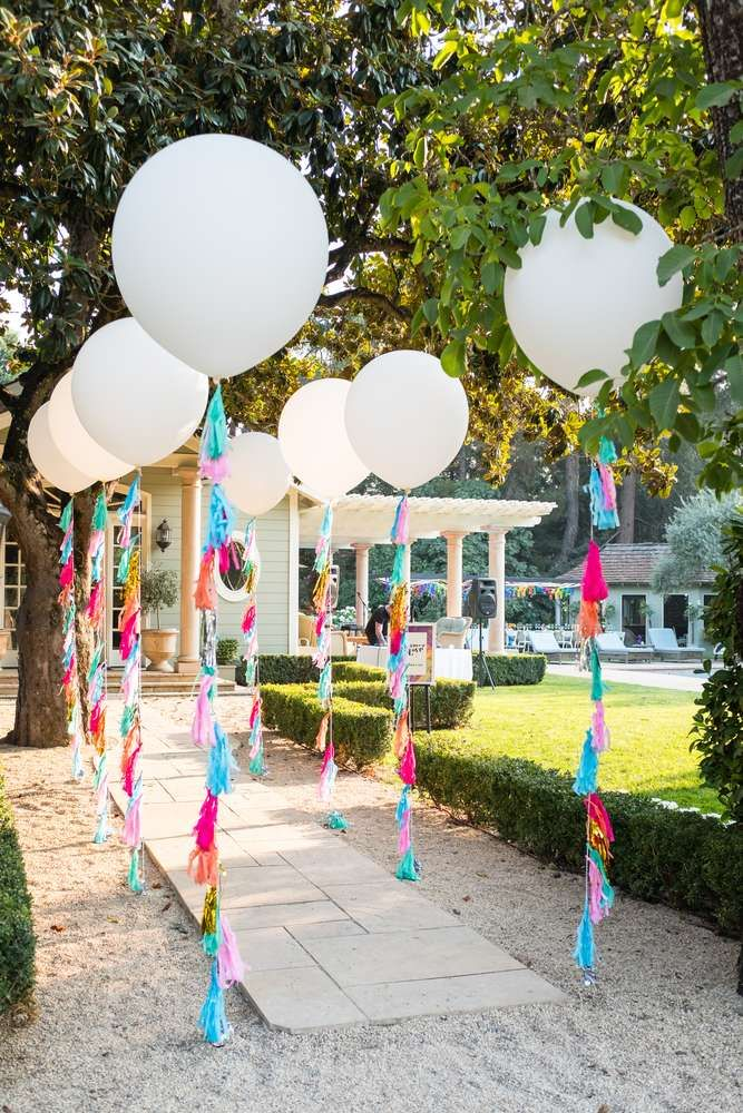 Check Out The Wonderful Tassel Balloon Decorations At This Summer Of Love 50th Birthday Party See More Ideas And Share Yours CatchMyParty