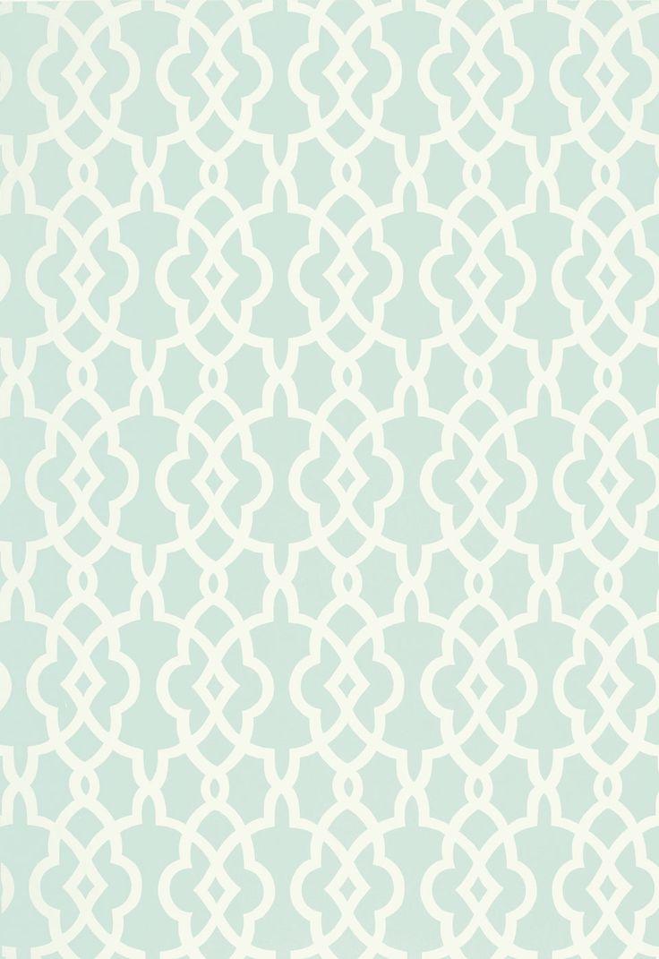Spring Fret Traditional Lattice - Aqua Blue Green Cream [LAT-503] : Designer Wallcoverings™