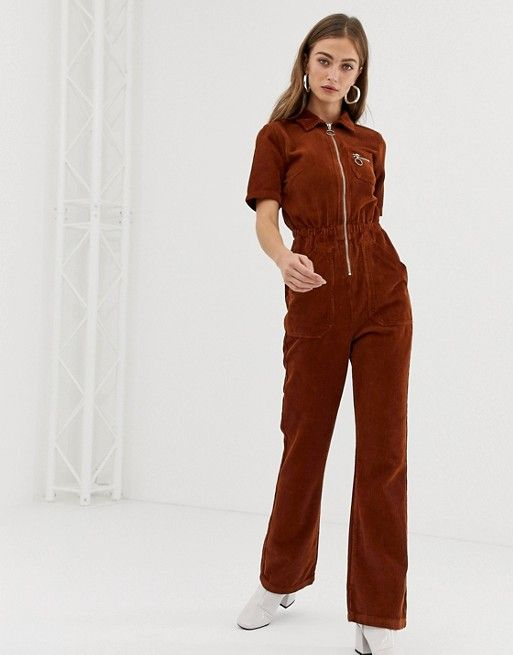 9372188b159 DESIGN cord 70s boilersuit with flare in chocolate in 2019
