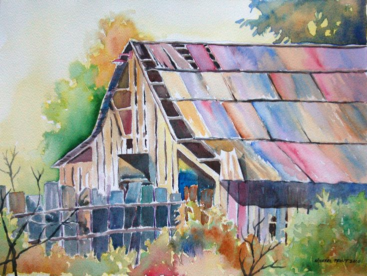 32 best images about art of old farm houses on pinterest for Watercolor barn paintings
