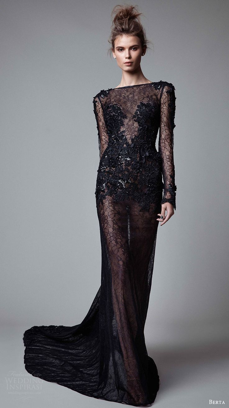 berta rtw fall 2017 (17 30) illusion long sleeves bateau neckline sheath evening dress sheer embellished bodice mv train