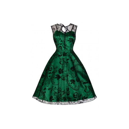 Retro šaty Lindy Bop Frankie Jean Šaty ve stylu 50. let. Nádherné slavnostní šaty vhodné pro společenské události - na ples, svatbu, promoci, do divadla, večírek, romantickou večeři. Spodní zelená brokátová vrstva s úzkými ramínky, na ní černá tylová, krajková s květy, úzká vázačka u krku, skrytý zip v bočním švu. Pro dokonalý vzhled a objem sukně doporučujeme pořídit spodničku z naší nabídky.