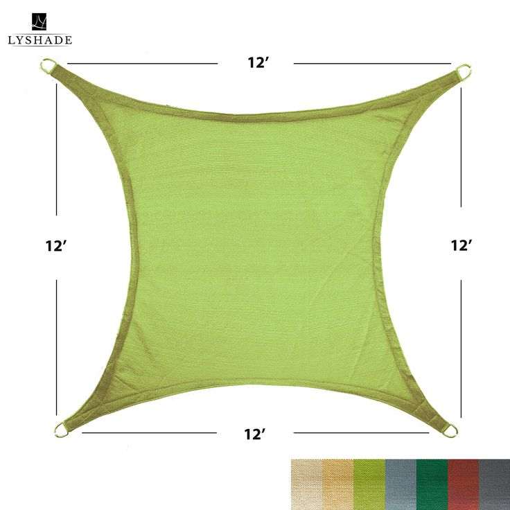 LyShade 12' x 12' Square Sun Shade Sail Canopy (Lime Green) - UV Block for Patio and Outdoor