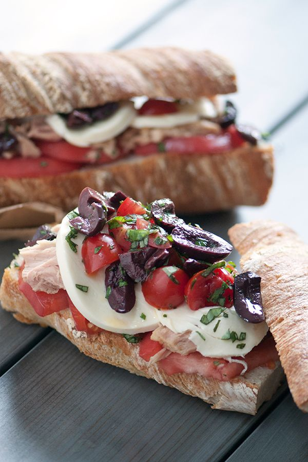 DeLallo.com Made Easy Recipes: Tuna & Olive Caprese Sandwich #calamata #summer #recipe