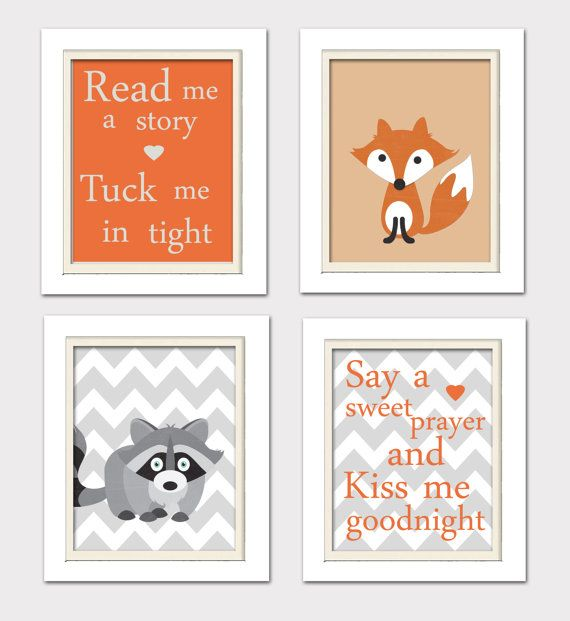Nursery Quad Woodland Nursery Fox Nursery Set of 4 by ChicWallArt, $37.00