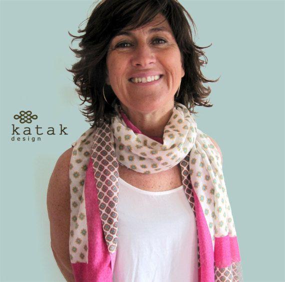 Pañuelo fular estampado pañuelo de algodón y seda por katakdesign