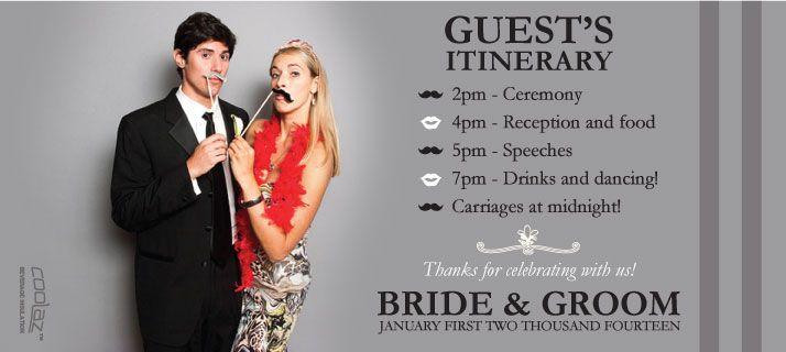 Itinerary Wedding Stubby Holders