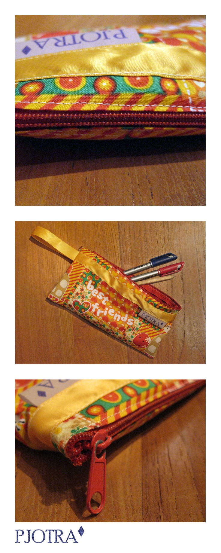 Brightly coloured pouch, partially made from recycled materials. Original Pjotra Design, always unique!