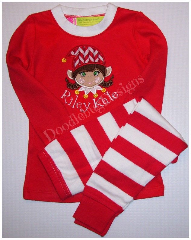 Girls Christmas Elf Pajamas - Personalization Available! by DipsyDoodlebug on Etsy https://www.etsy.com/listing/160578756/girls-christmas-elf-pajamas