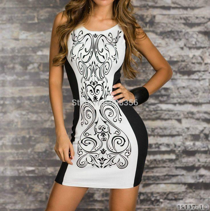 Plus size vrouwen 2014 nieuwe mode retro afgedrukt zwart-wit patchwork toevallige bodycon jurk sexy club jurken zomer tank 0422