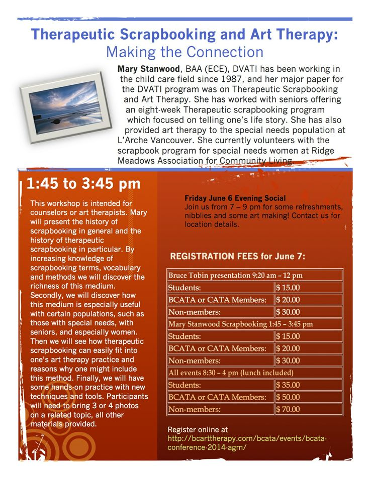Mary Stanwood's Therapeutic Scrapbooking workshop June 7 for BCATA http://bcarttherapy.com/bcata/events/bcata-conference-2014-agm/