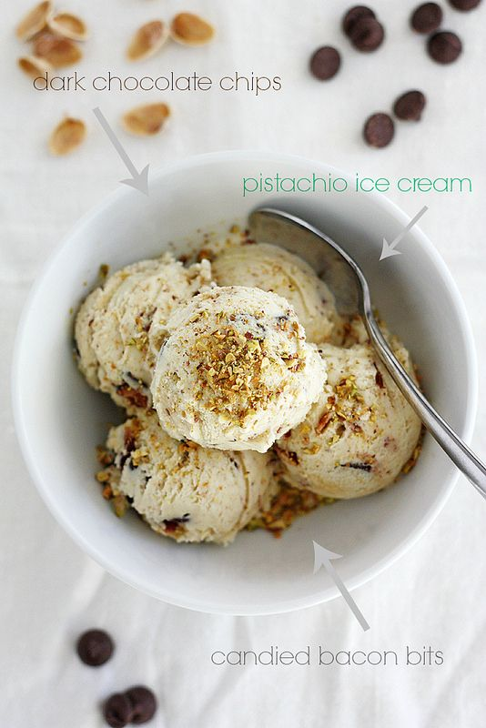 Dark Chocolate Pistachio Ice Cream with Candied Bacon Bits # ...