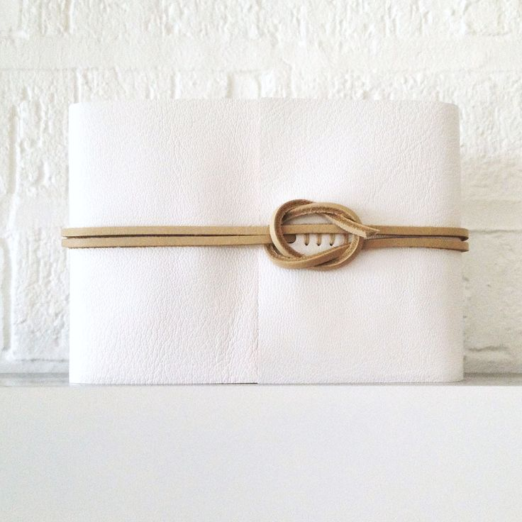 Clic Wedding Guest Book White Natural Leather