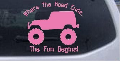 Pink jeep - Where The Road Ends The Fun Begins Jeep Off Road Car Window Wall Laptop Decal Sticker -- Pink 6in X 5.0in Rad Dezigns,http://www.amazon.com/dp/B00DO8GKRM/ref=cm_sw_r_pi_dp_O2b9sb1NZ3AVWS3T