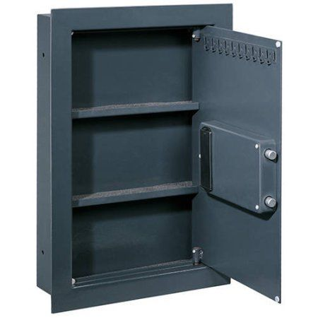 In Wall Safe with Biometric Lock, Black
