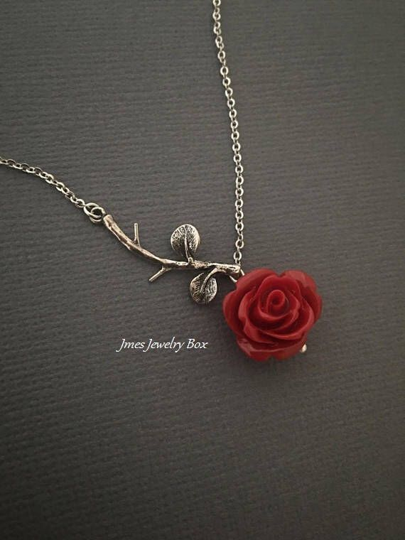 Silver branch necklace with red rose, Rose branch necklace, Red rose necklace, Beauty and the beast necklace, Tiny silver branch necklace by jmesjewelrybox on Etsy https://www.etsy.com/listing/563432121/silver-branch-necklace-with-red-rose