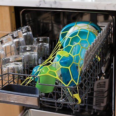 SPAN Silicone Dishwasher Net.  We're pretty sure the dude who invented the dishwasher didn't have kids. Because if he did, he would have found a way to keep plastic bowls and cups from flipping over and filling with nasty water. That's where we come in. SPAN is a stretchy silicone net that hooks to your dishwasher rack and keeps everything locked down. Duh. Problem solved.