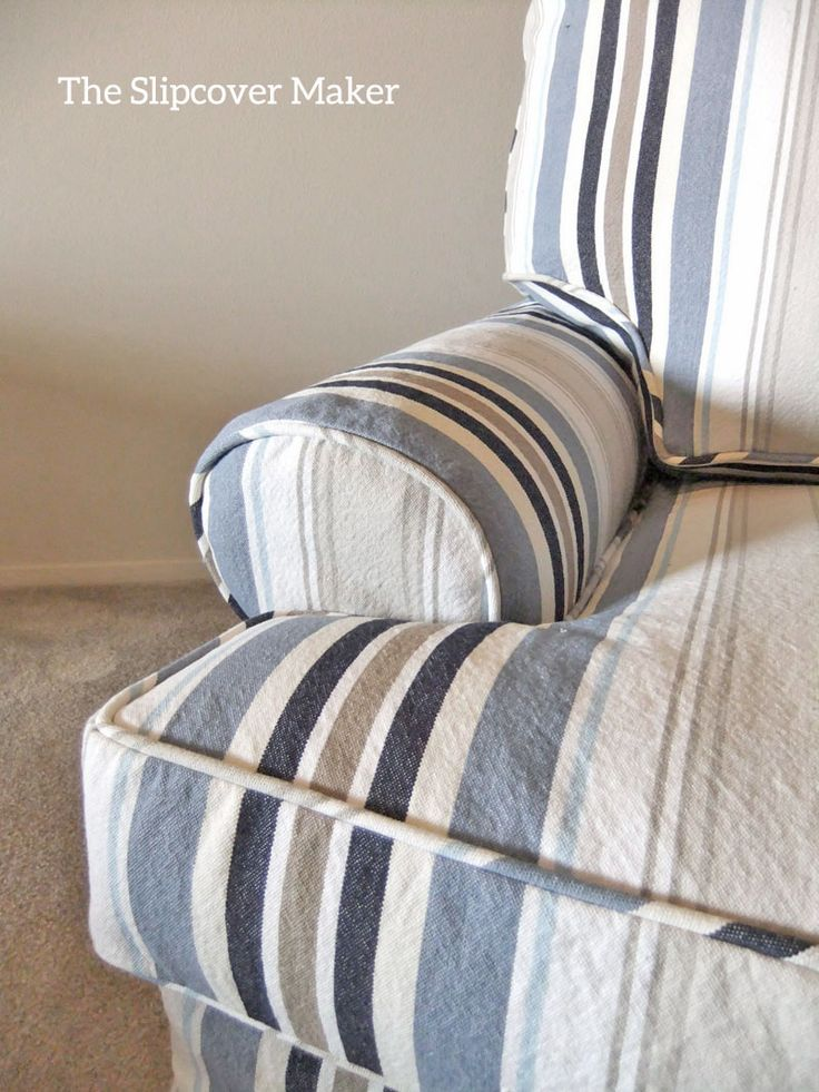 Custom made slipcover in an awning stripe canvas perfect for lakeside living.