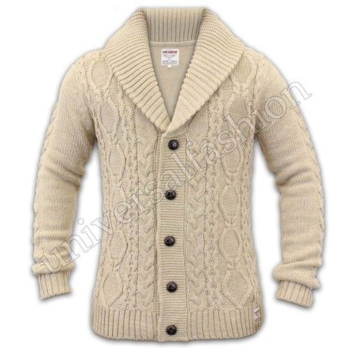 Mens Cardigan Knitting Patterns : Details about Mens Cardigan Cable Knit Chunky Threadbare Jacquard Shawl Neck ...
