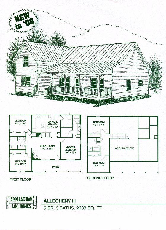 Allegheny III   5 Bed, 3 Bath, 2 Stories, 2638 Sq. Ft. Log Cabin Floor PlansHome  ...