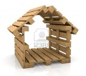 jeden dom wykonany z palet, pojęcie bezpiecznej żeglugi (3d) Zdjęcie Seryjne