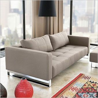 Clay - Contemporary Sleeper Sofa in sand or leather with queen size bed -  Scan Design
