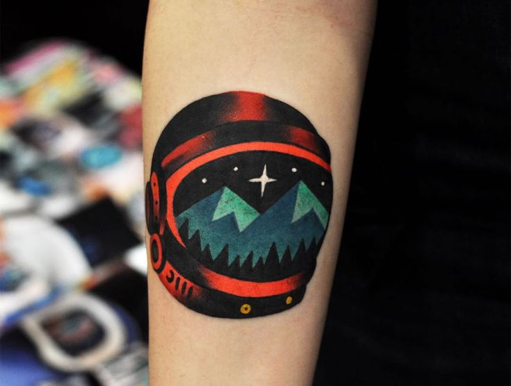surreal astronaut tattoo #tattoo by David Cote, Booking/inquiries: thedavidcote@gmail.com